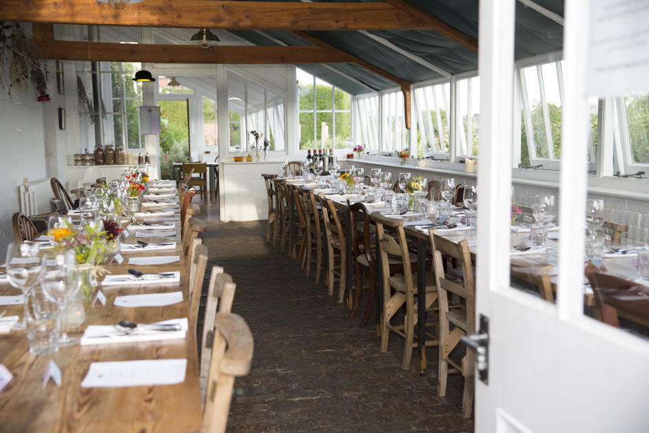 the decorated orangery wedding reception at The Ethicurean in Bristol