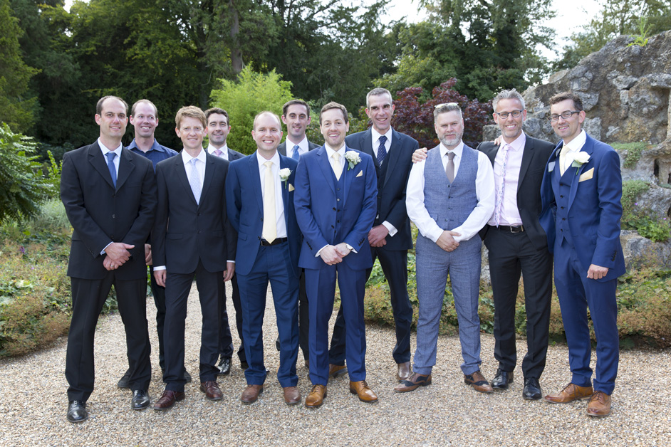 groom with male friends and family at Wotton House wedding in Dorking, Surrey