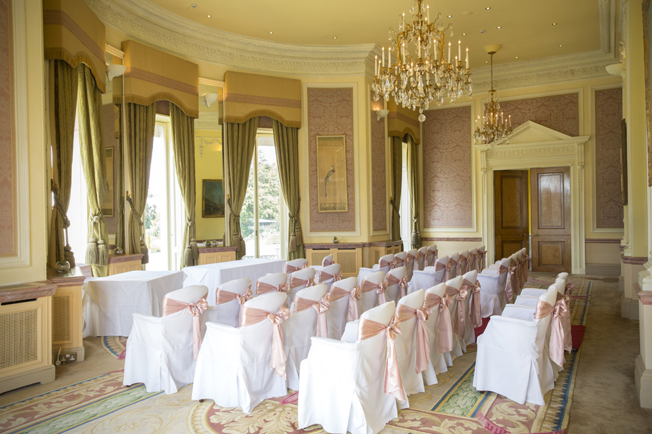 wedding ceremony room at Stoke Park in Reading