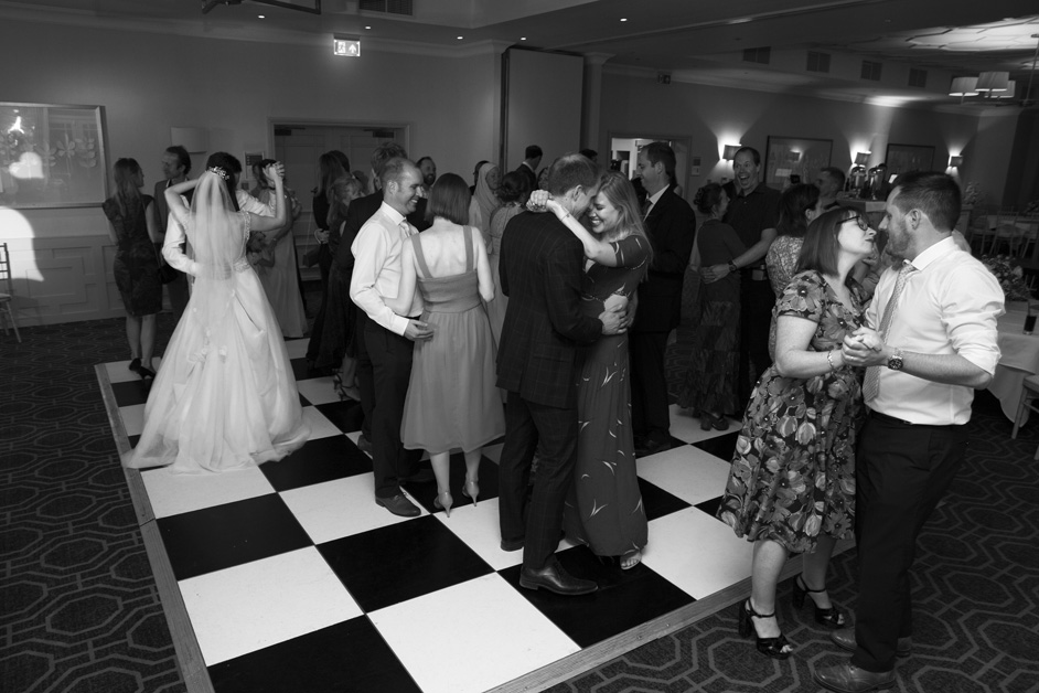 guests dancing at Wotton House wedding in Dorking, Surrey