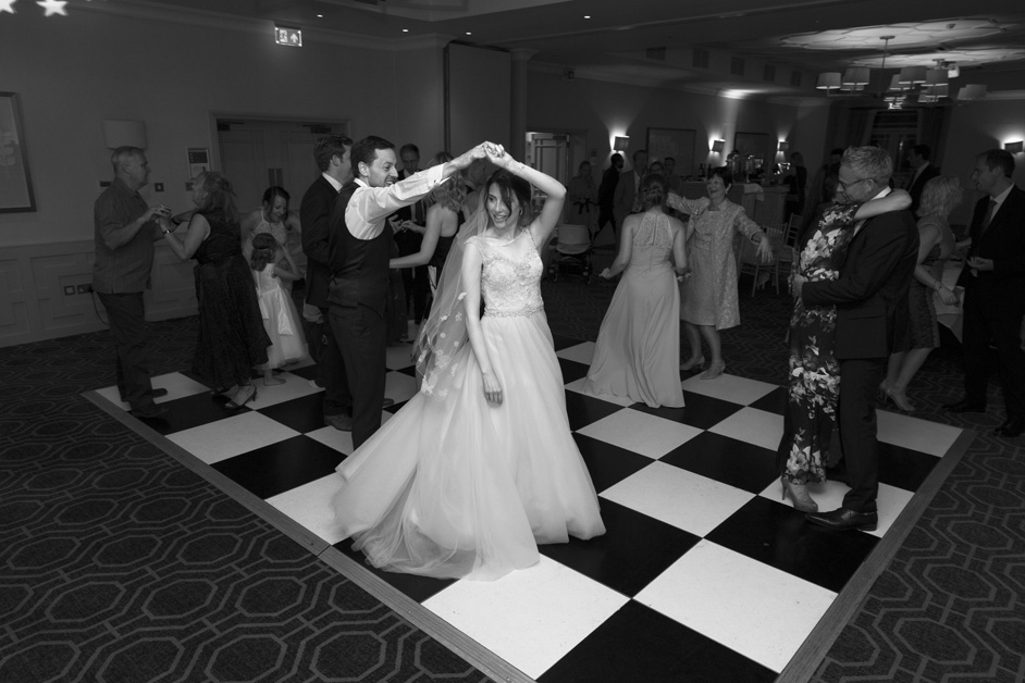 bride and groom dancing on dance floor at Wotton House wedding at Dorking, Surrey