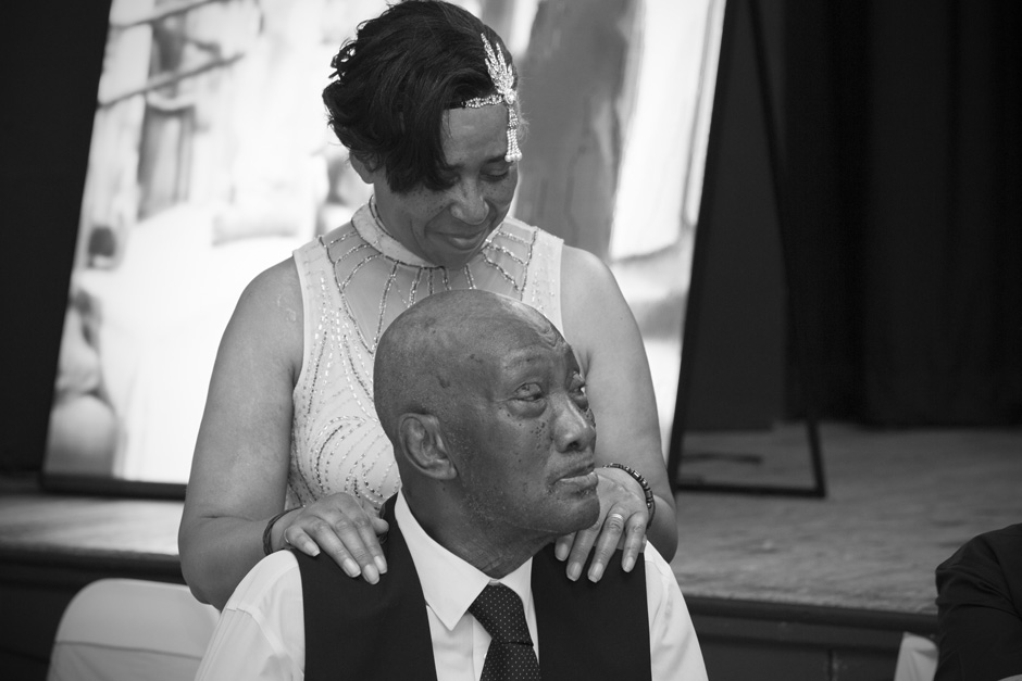bride resting her hands on her father at West Wickham wedding in Kent