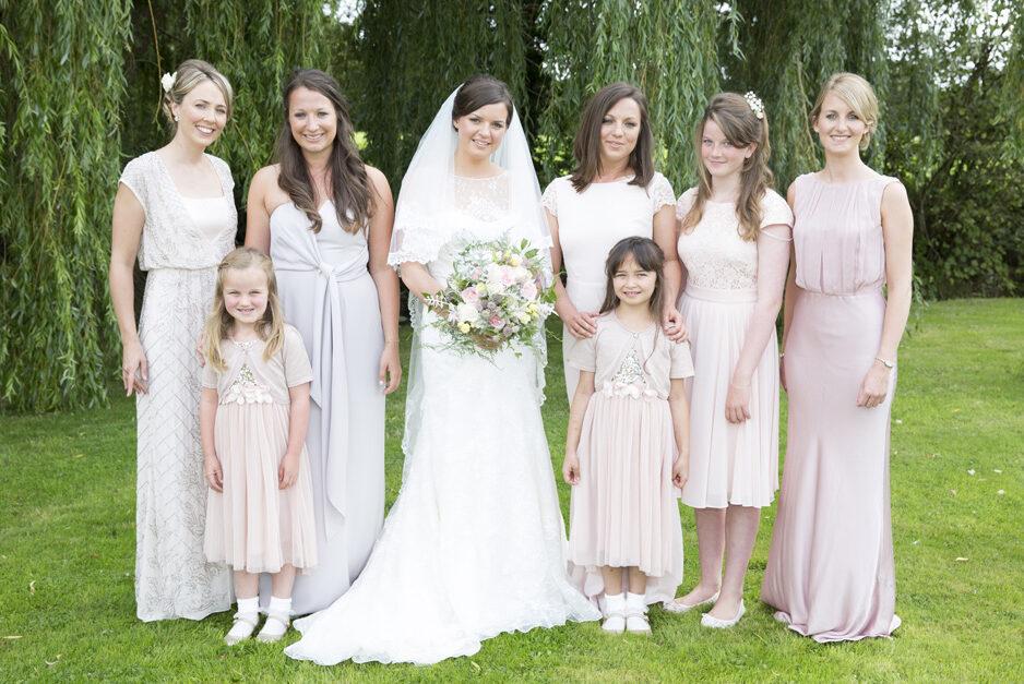 bride with bridesmaids and flower girls at Smarden village wedding in Kent