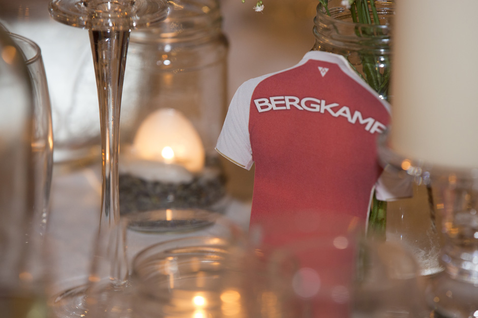 Arsenal themed table decorations at Swallows Oast wedding at Ticehurst, East Sussex