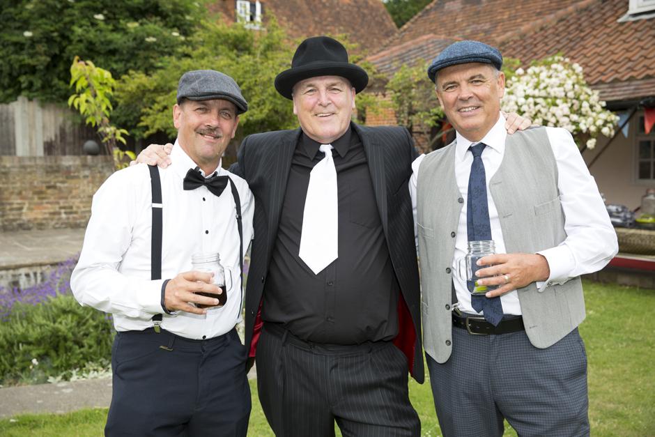 groom with best men at vintage wedding in Bromely, Kent