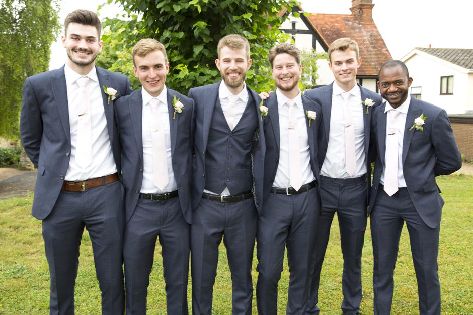 groom with ushers at Cuddington Church in Buckinghamshire