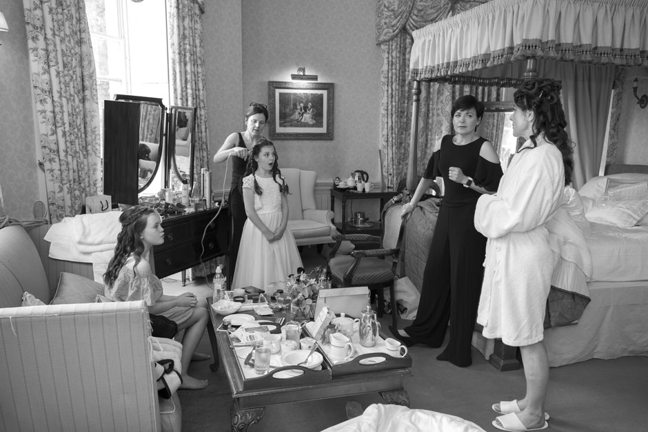 Bridal preparation candid shot captured at The Shelley's Hotel in Lewes, East Sussex