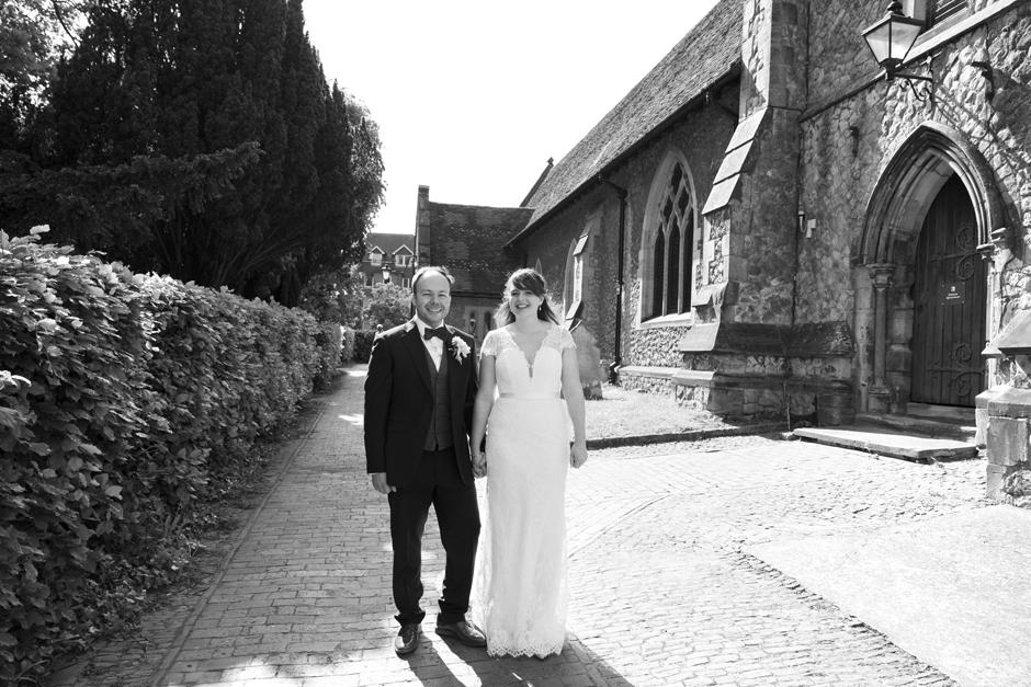 Bride and Groom outside St Stephen's Church in Tonbridge, Kent