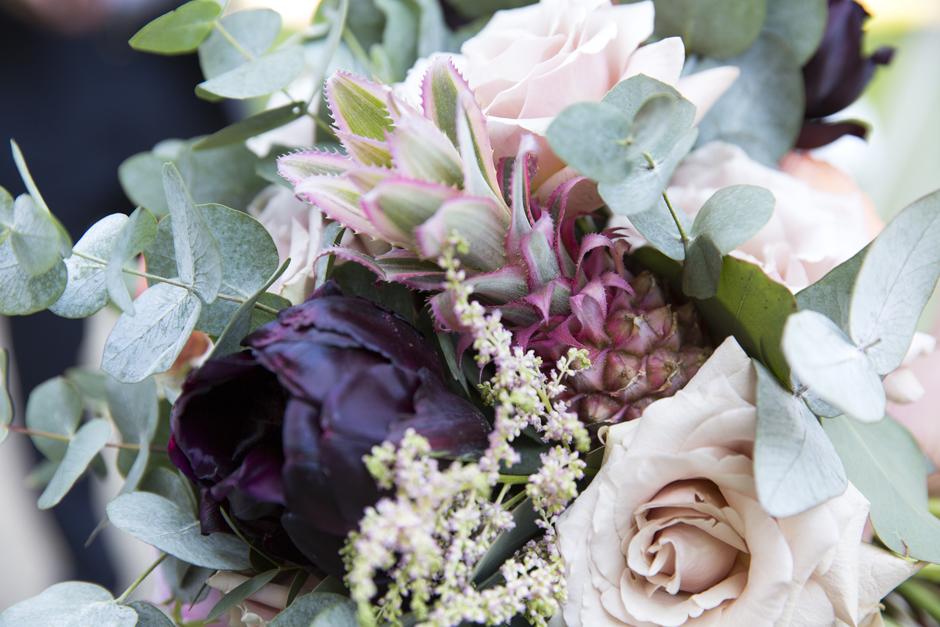Pink pineapple in wedding bouquet at Tonbridge wedding in Kent