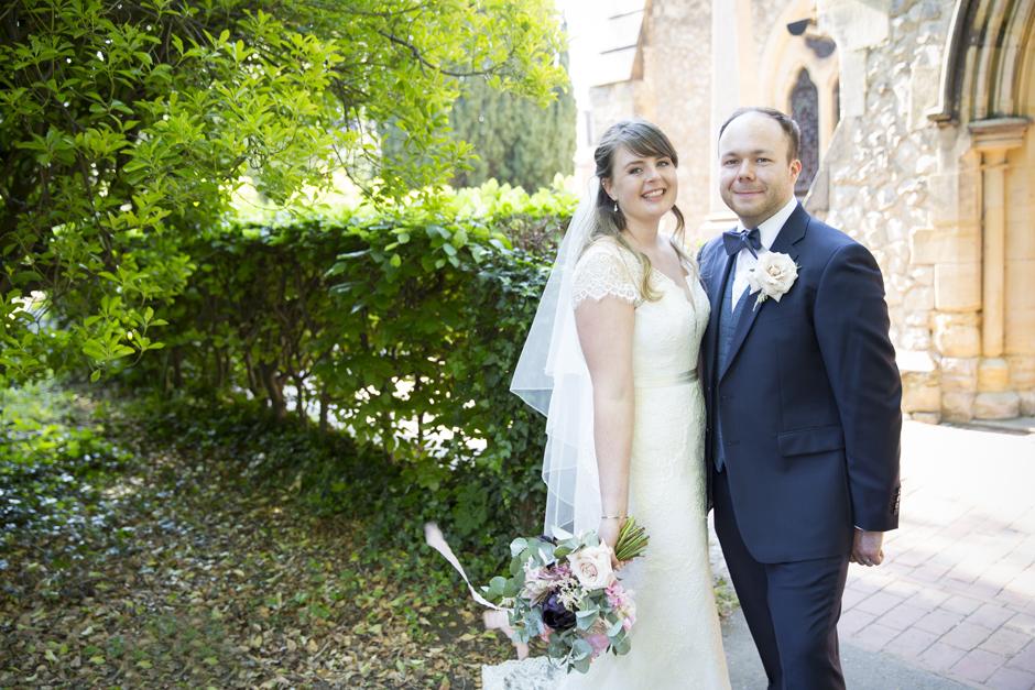 Bride and Groom wedding portrait outside St Stephen's Church in Tonbridge, Kent