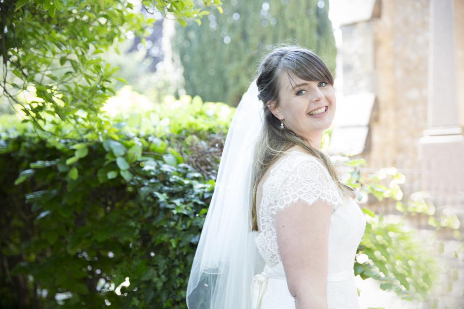 Bride portrait outside St Stephen's Church in Tonbridge, Kent