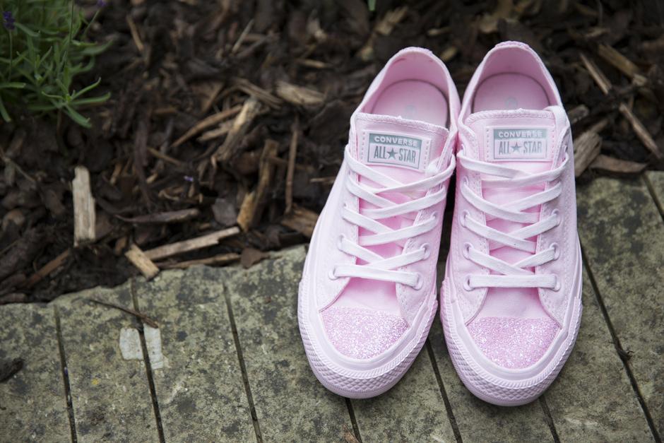 pink flower girl converses