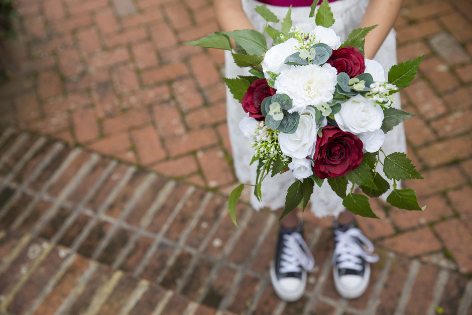 Silk bridesmaid bouquet by Heather at Lily & Rose, captured by Kent wedding photographer Victoria Green