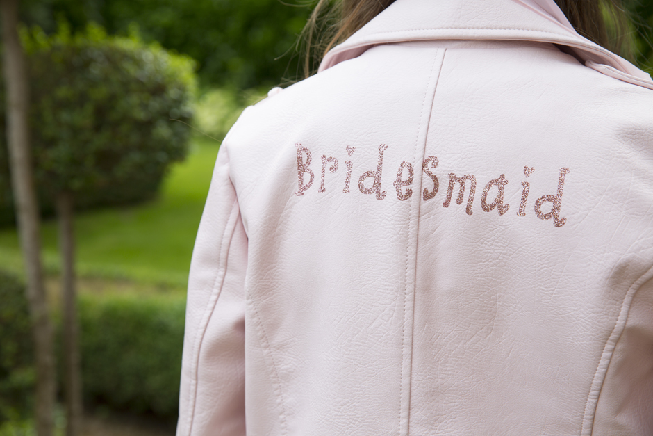 Bridesmaid pink leather jacket (by Forgetmenotbyjb)