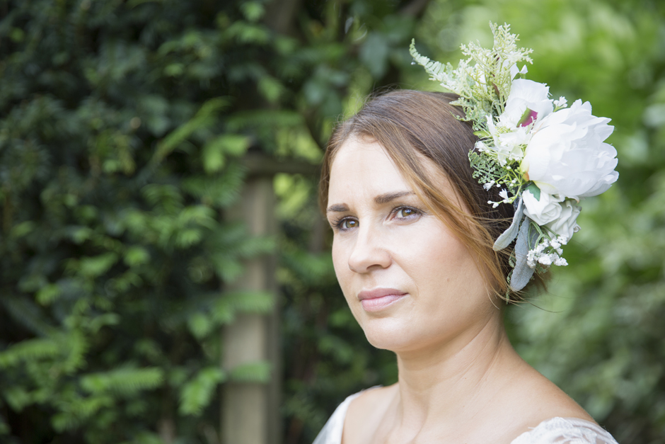 Bride with silk flower head piece (by Heather at Lily & Rose)