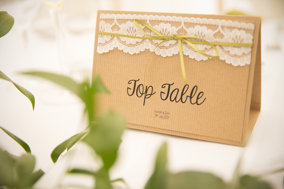 Top Table sign at Nettlestead Place wedding in Maidstone, Kent.