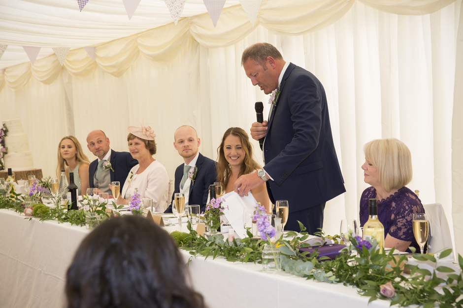Bride's father's speech, standing at the top table at Nettlestead Place wedding in Maidstone, Kent.