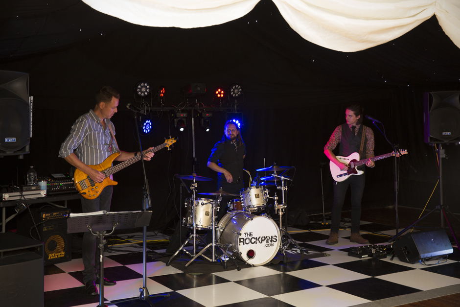 The Rockpins band performing at Nettlestead Place wedding in Kent.